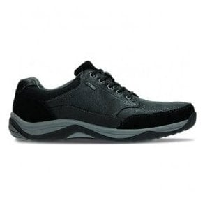 Mens BaystoneGo GTX Black Leather Waterpoof Casual Shoes