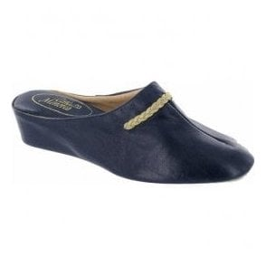 Womens Galdana Navy Leather Slippers