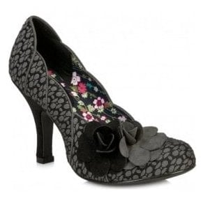 Womens April Grey Court Shoes With Flower Detail