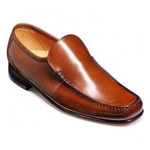 Mens Javron Brown Burnished Calf Slip-On Moccasin Shoes