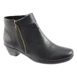 Womens Cristallin Black Zip Ankle Boots 76961-00