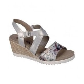 Womens Madeira Metallic White Floral Velcro Sling Back Sandals D3452-90