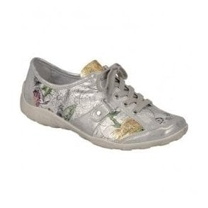 Womens Space Multi Floral Leather Casual Lace Up Shoes R3431-90