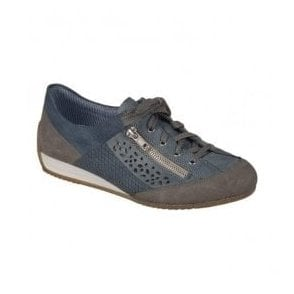 Vendee Blue-Combi Lace Up Trainers L9041-42