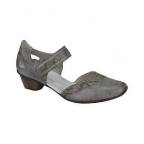 Wilde Grey Combi Leather Bar Shoes 49780-41