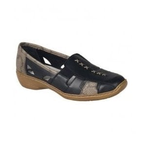 Newark Black Combi Slip On Casual Shoes 41385-01