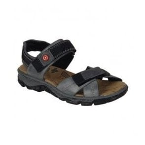 Womens Ganges Blue Leather Velcro Sandals 68851-12