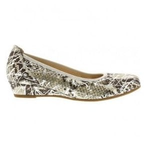 Womens Chester Snakeskin/Silver Slip On Wedge Shoes 62.690.20