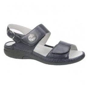 Womens Gunna Cuba Navy Leather Velcro Sandals 204001 119 194