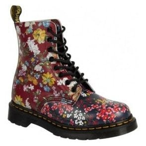 Womens Pascal Floral Mix Lace Up Boots 22392102