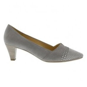Womens Gerda Stone/Silver Slip On Heeled Court Shoes 65.146.19