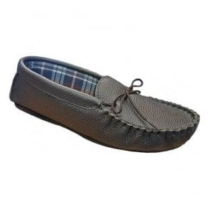 Mens Michael Brown Moccasin Style Slippers