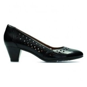 Womens Denny Dallas Black Leather Court Shoes