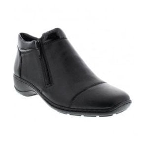 Womens Cristallin Black Zip Ankle Boots 58374-00