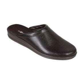 Mens Mocca Leather Mule Slippers 1550 72