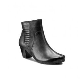 Womens Black Leather Ankle Boots 9-25337-27 019