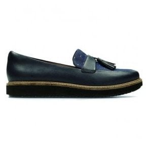 Womens Glick Castine Navy Leather Tasseled Loafers