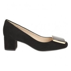 Womens Chinaberry Fun Black Suede Court Shoes
