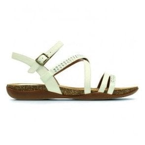 Womens Autumn Peace White Leather Sandals