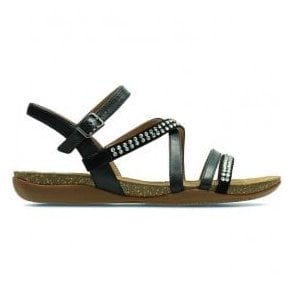 Womens Autumn Peace Black Leather Sandals