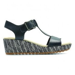 Womens Kamara Kiki Navy Leather T-Bar Sandals