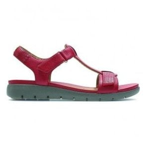 Womens Un Haywood Red Leather T-Bar Sandals