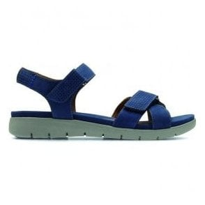 Womens Un Saffron Dark Blue Nubuck Leather Sandals