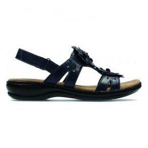 Womens Leisa Claytin Navy Leather T-Bar Sandals
