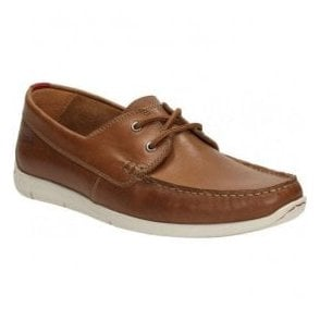 Mens Karlock Step Tan Leather Boat Shoes