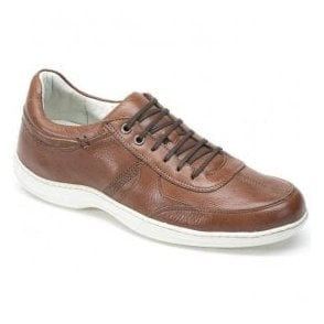 Mens Feliz Tan Leather Casual Trainer Shoes