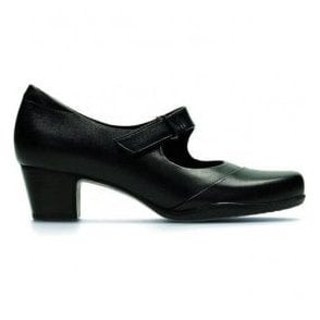 Womens Rosalyn Wren Black Leather Mary Jane Shoes