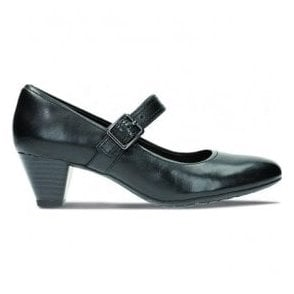 Womens Denny Date Black Leather Mary Jane Shoes