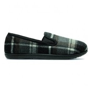 Mens King Twin Grey Fabric Slippers