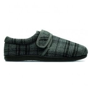 Mens King Strap Grey Fabric Slippers