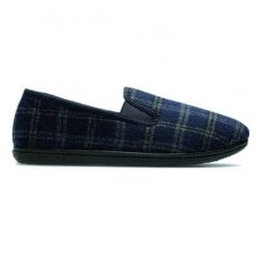 Mens King Twin Navy Checked Fabric Slippers