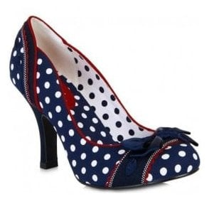 Womens Amy Navy Spotted Court Shoes 09084