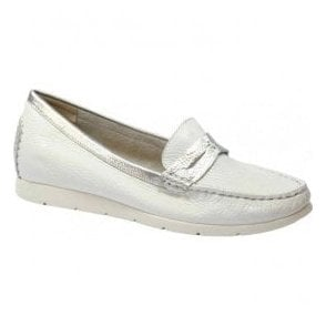 Womens White Deer Multi Leather Skin Moccasins 9-9-24651-28 115