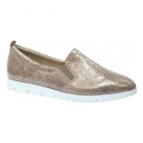 Womens Celina Taupe Leather Slip On Loafers 9-9-24667-28 346