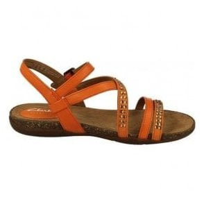 Womens Autumn Peace Orange Leather Sandals