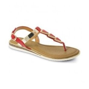 Womens Bobbi Red Toe Post Fashion Sandals JLH815 RD