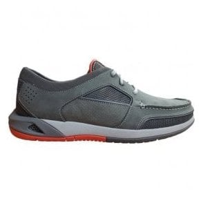 Mens Ormand Sail Dark Grey Leather Casual Trainer Shoes