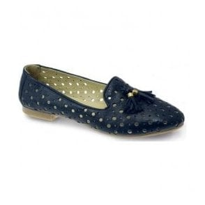 Womens Alma Navy Blue Punched Tassel Pump Shoes FLH584 BL