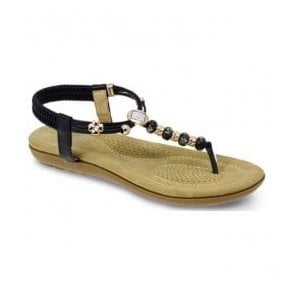 Womens Murano Black Beaded Toe Post Sandals JLH879 BK