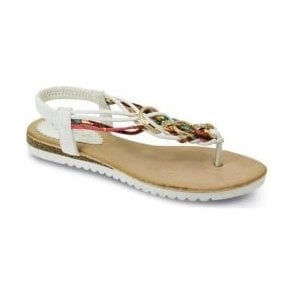 Womens Sky White Twist Toe Post Sandals JLH792 WT