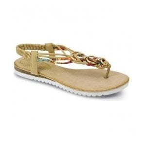 Womens Sky Beige Twist Toe Post Sandals JLH792 BG