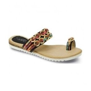 Womens Gina Black-Multi Toe-loop Sandals JLH793 BK