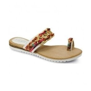 Womens Gina White-Multi Toe-loop Sandals JLH793 WT