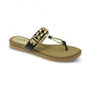 Womens Delores Black Chain Toe Post Sandals JLH839 BK