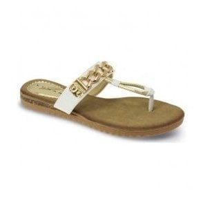 Womens Delores White Chain Toe Post Sandals JLH839 WT