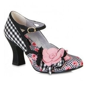 Womens Dee Black/Pink Mary Jane Court Shoes 09095